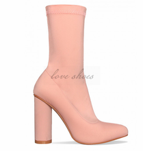 2017 New Design Beautiful Pink Lycra Block Heel Ankle Boots women dress shoes