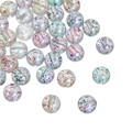 Acrylic Spacer Beads Round Clear AB Color At Random Sequins About 10mm Dia