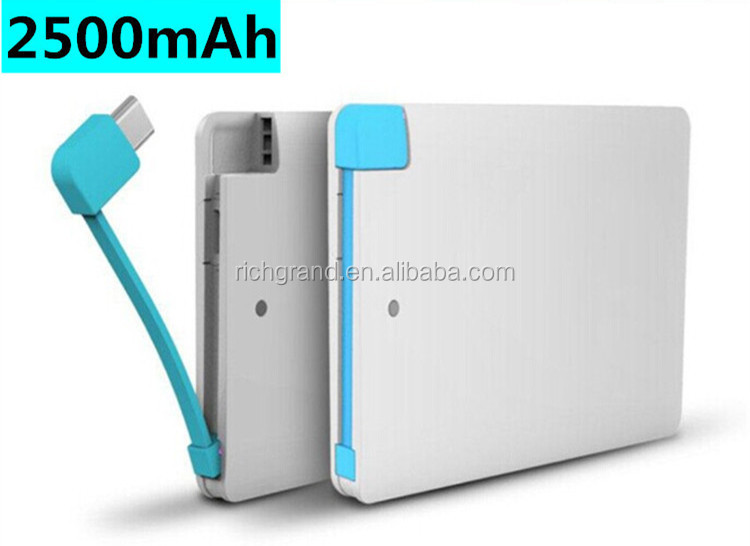 Ultra-thin 2500mAh Portable Generatted Micro USB Cable Power Bank External Battery Charger for Mobile Phone