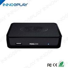 New arrival Product MAG 254 Linux IPTV set top box with 1 year Arabic Spanish channels subscription iptv box mag 254