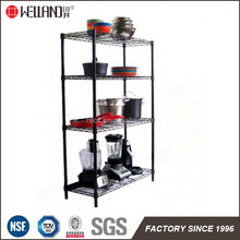 Black Powder Coated 4 Tiers Kitchen Rack Pan and Pots Storage Wire Shelving