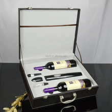 Elegant 2 Bottles Leather Wine Carrier With Wine Tool Kit