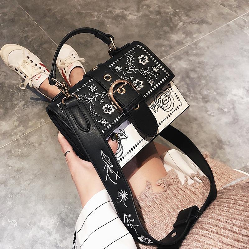 Toposhine Fashion Women Bag Panelled Vintage Flower Girls Bags for Girls Black PU Leather Women Messenger Bags Drop Shipping 5