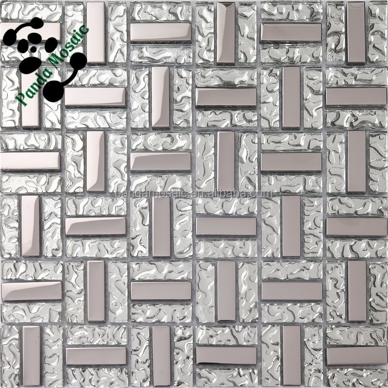 Silver square cheap wall tiles opaque glass mosaic bathroom floors tiles SMP01