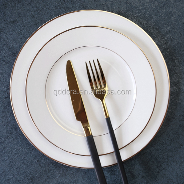 Factory price Most popular High grade OEM service Wedding ceramic Gold Plates/Antique Vintage dinner plate