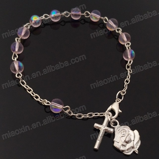 New product Easter christian religious products glass cross bracelet