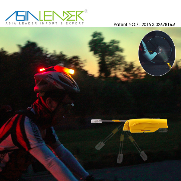 Patent No.ZL201530267816.6 Front White and Rear Red Light 2in1 Bicycle Helmet Flashlight Mount