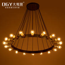 Hotel chandeliers big hall pendant lights vintage industrial lamp
