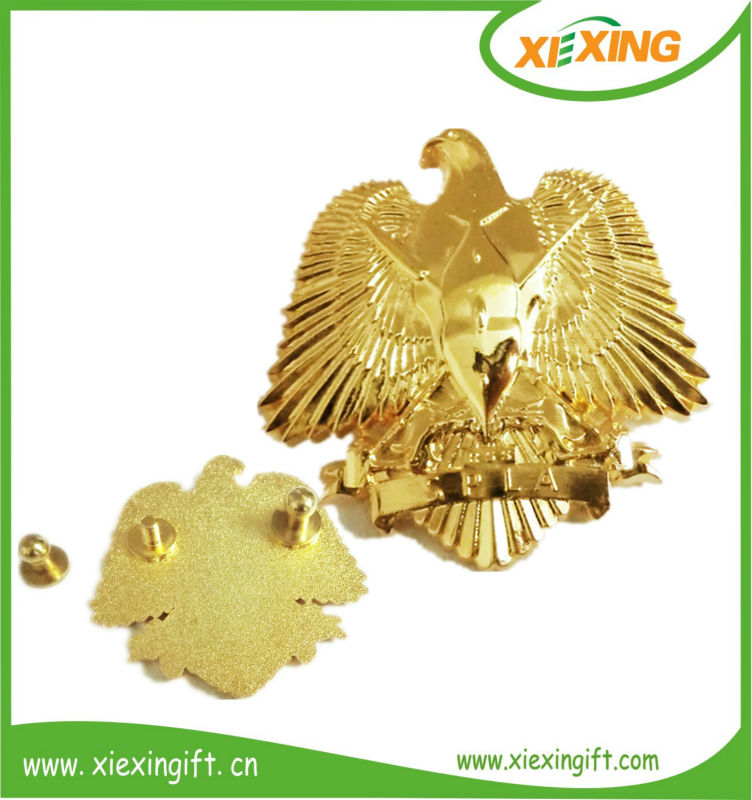 custom eagle shaped gold metal 3d lapel pin