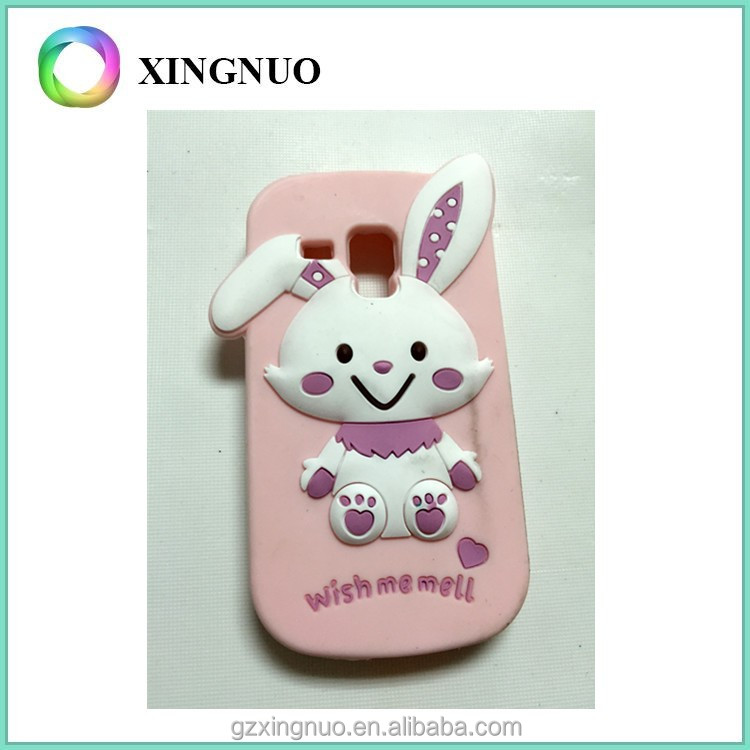 Cute 3D rabbit design silicone phone case for samsung