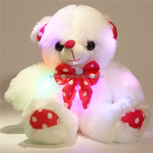Valentine's Day Gift Light Up Teddy Bear Plush Toy For Kids Custom Cute Pretty Music Singing Stuffed Soft Toy 3D Led Teddy Bear