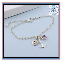wholesale Nautical Initial Birthstone Charm Jewelry Personalized Silver Anchor Bracelet