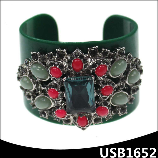 green color big crystal resin charm open plastic wide cuff ladies fancy bangles