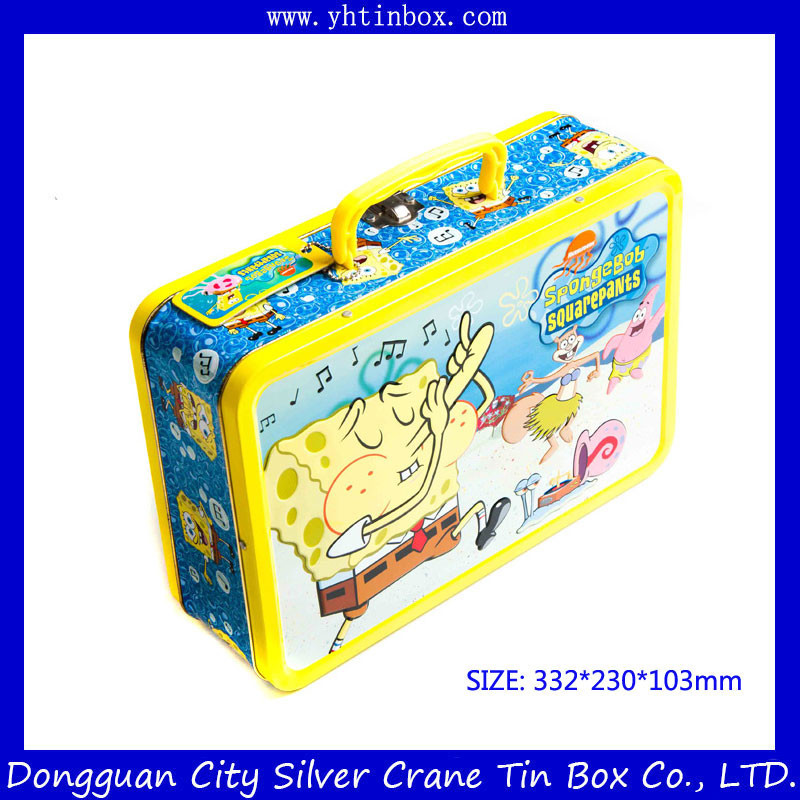 Rctangtular Cartoon Tin Portable Gift Case/Box with Handle, Lunvh Tin Box