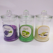 Windproof round glass cup fragrance candle with lid
