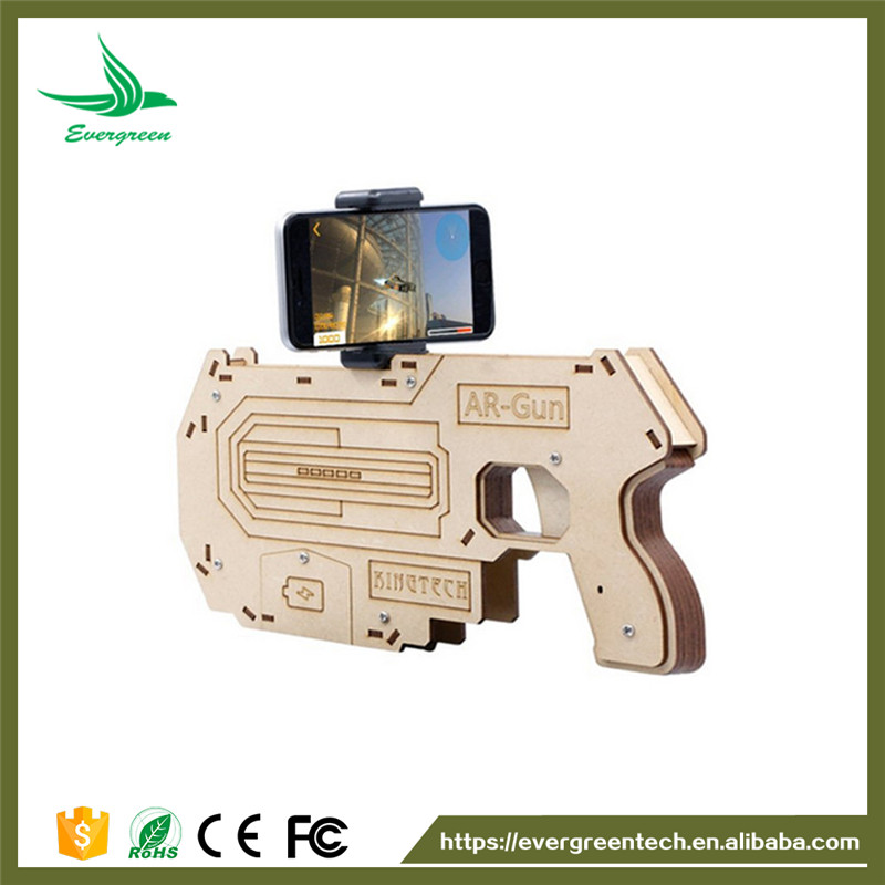 Hot VR AR Game Gun with Cell Phone Stand Holder Portable Wood AR Toy Game Gun with 3D AR Games for Smartphones