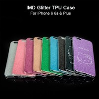 Custom Design IMD LOGO printing Bling Glitter Cheap 5.5 inch TPU Mobile Phone Case For iPhone 6 Plus Wholesale