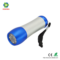 9 LED Flashlight AL Flat Torch Night Fishing Torch bulk led flashlights cheap hand pressing flat led flashlight