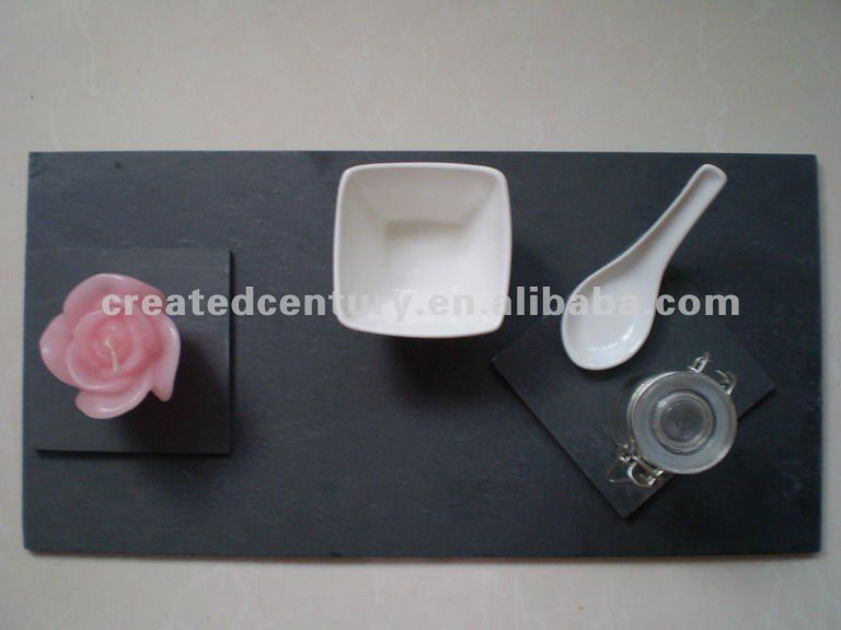 Natural black food slate tray with glass jar