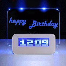 Blue Light Digital LCD LED Message memo Board Alarm Clock