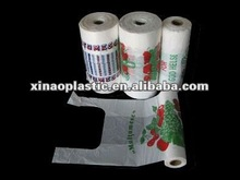 2013 HIGH QUALITY HDPE plastic T-shirt bags on roll with printing