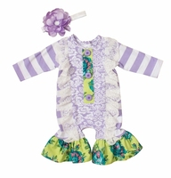 Wholesale purple infant baby girls lace long sleeve fall ruffle stripes toddler rompers
