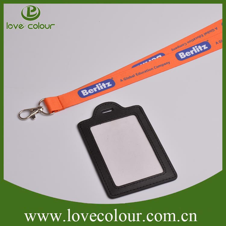 Hot Sale Customized colorful leather id card holder with lanyard