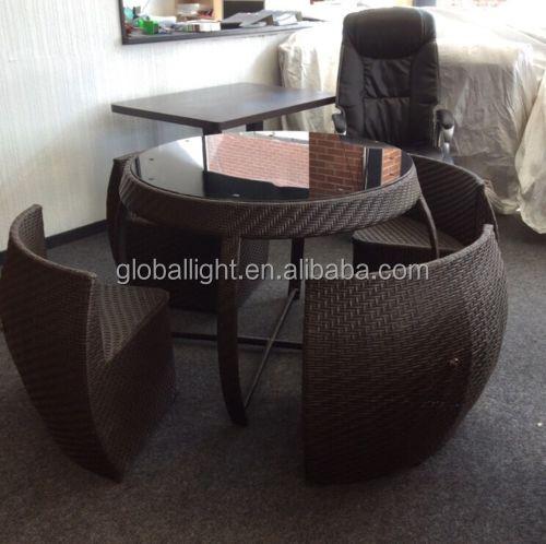Rattan Garden Space Saver Compact Chair Set Table Glass Patio Furniture Balcony Buy Balcony