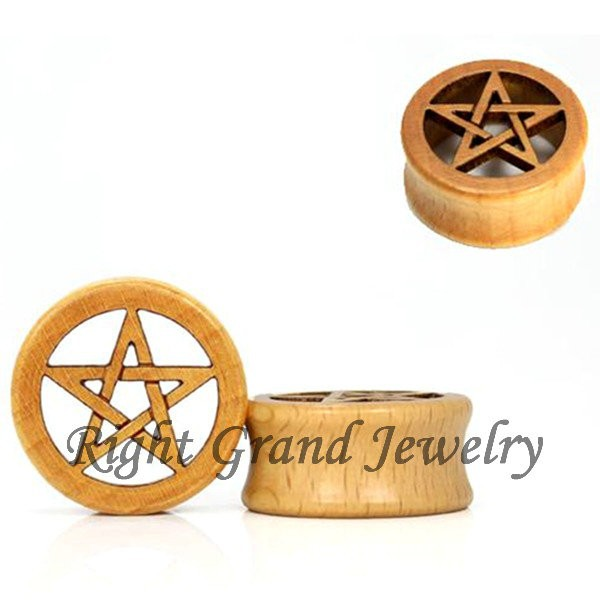 Natural Wooden Star Ear Plug Wood Piercing Jewelry Christmas Flesh Tunnel