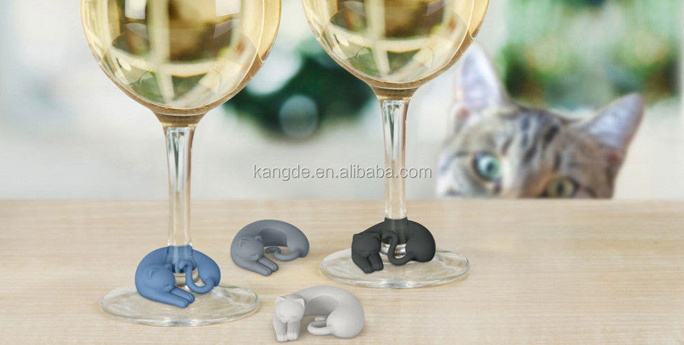 New hottest sale tiny cats silicone wine glass wine lives wine markers