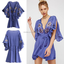 NS1427 wholesale summer fashion women casual embroidery tassel dresses