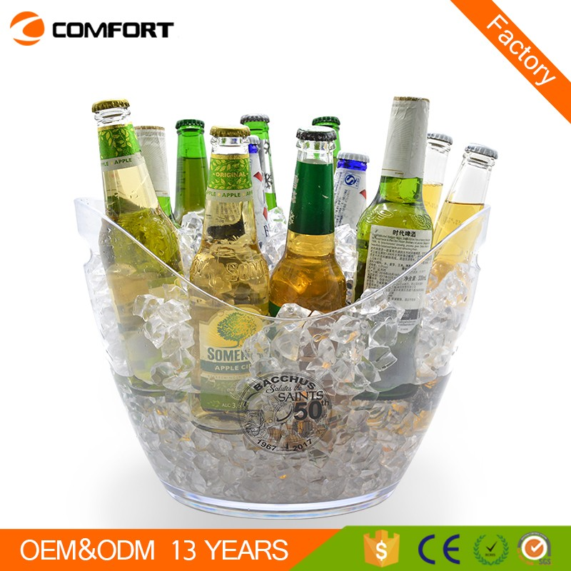 4liter boat shape plastic transparent ice bucket for wine