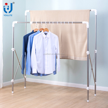 Outdoor double pole folding cloth hanger rack