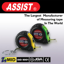 ASSIST mini steel measuring tape WITH keychain black rubber covered ABS case 1m tape measure