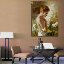 Factory Price A half Naked Woman with Flowers Canvas Art Painting on Sale