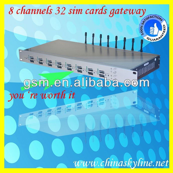8 channels 32 sim cards gsm gateway/gprs/gps tracker