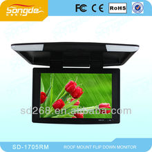 Super Slim 17.5 inch LED car roof mount Monitor with dual input