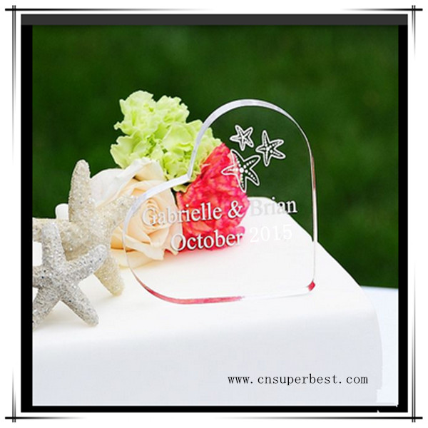 Gift heart shape acrylic cake topper for weddings