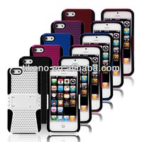 durable fashion double layer mesh kickstand silicon case for ipod touch 5