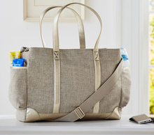 wholesale Natural Linen and herringbone mummy baby Classic Diaper tote Bag including a changing mat