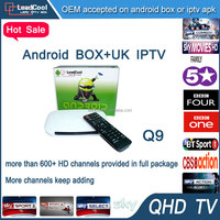 Leadcool Q9 french channels iptv box RAM 1GB ROM 8GB with one year free QHDTV iptv account with 600+ european arabic channels