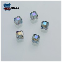 AAA quality bead making machine fashion style cube shape faceted crystal beads in bulk 8mm 10mm glass beads for jewelry making