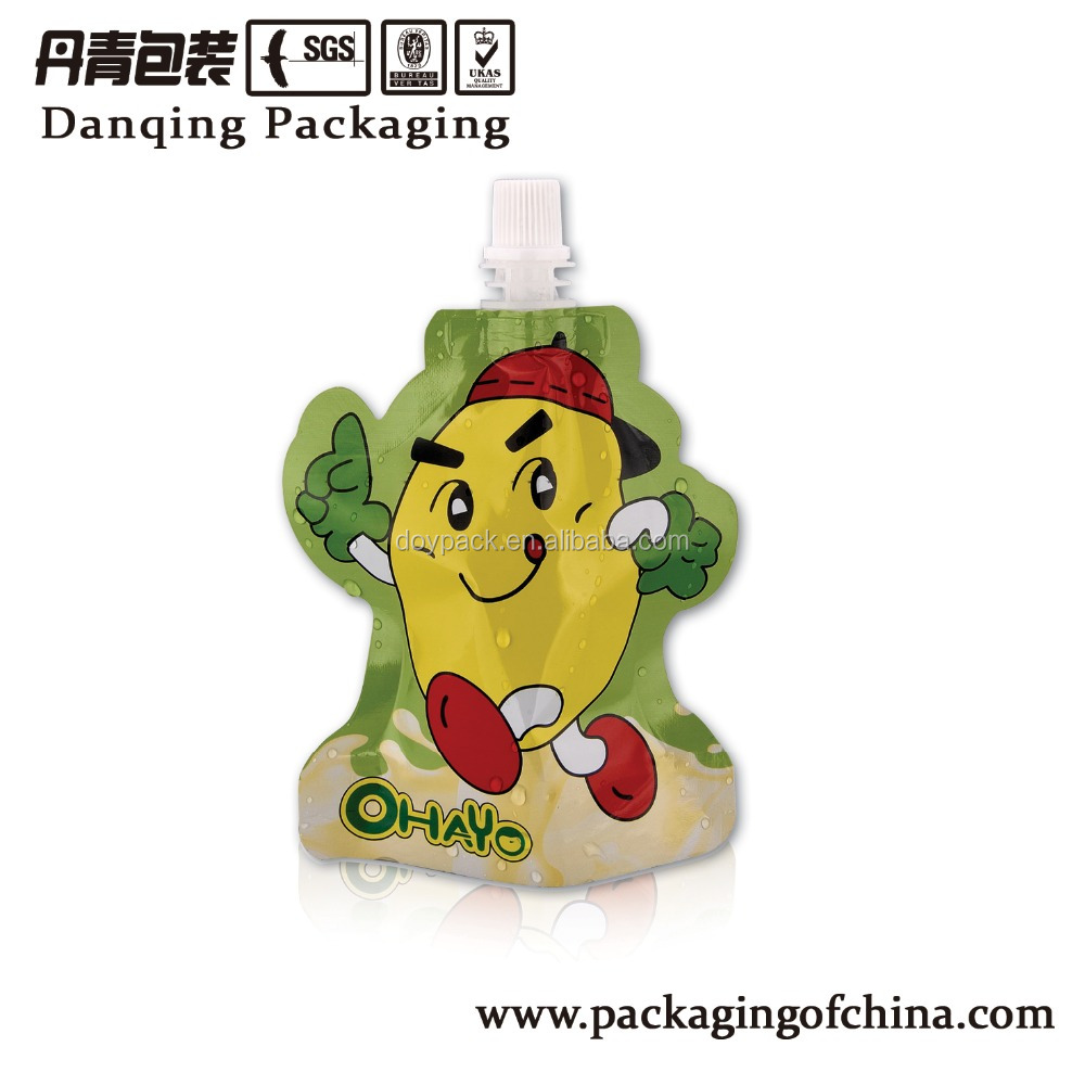 Special shape mango juice packaging bag standing spouted pouch Y1584