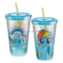 Reusable double wall plastic drinking cup with lid and straw