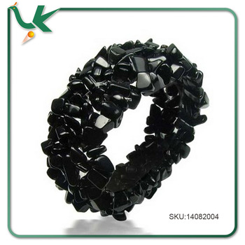 Wholesale Jewelry Stretch Black Onyx Gemstone Nugget Chips Bracelet