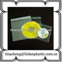 opp self adhesive plastic cd bag dvd plastic sleeve with flap
