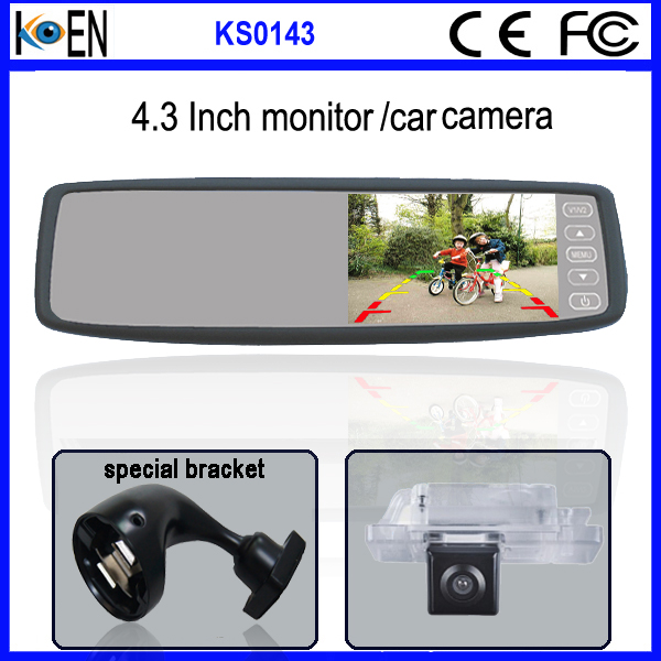 Cars Accessaries 4.3 Inch Touch Button hyundai OEM Mirror With Rear Camera Display