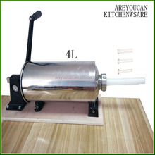 Areyoucan 4 Plastic Enema tube Manual sausage stuffer /stainless steel hot dog filler/ sausage filling machine with 4L capacity