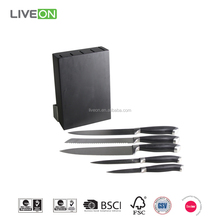 Classic Royal Kitchen 5pcs Knife Set With Rubber Wood Block