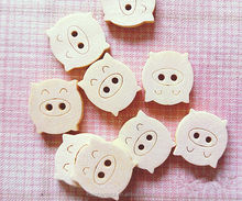 2 holes animal shaped wood button - custom button laser engraving